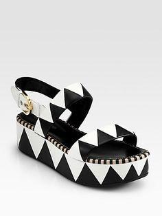 Sergio Rossi - Leather Geometric Platform Sandals