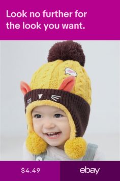 Baby Winter Hat Infant Beanie Cap For Animal Cat Ear Kids Crochet Knitted  Hat. Hats Clothing ... 472b7742ab10