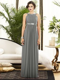 This bridesmaid dress is kind of simple, but has a little sparkle that I like as well.  I really like the cut (it seems like it would be very figure flattering), and it comes in a wide variety of colors that would suit either of our potential color palettes.  I really like this charcoal grey color, but the other colors are gorgeous as well!  Dessy Collection Style #2889