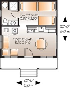 First Floor Plan of Cabin   House Plan 76165//  Move Kitchen wall back and make bunk room smaller to be a storage room/pantry etc. !!!!!!