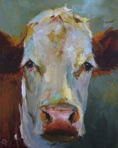 Cow Painting  Maryanne  8x10 Original Painting by CariHumphryArt