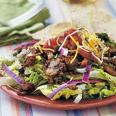 Taco Salad with Cilantro-Lime Vinaigrette | MyRecipes.com #MyPlate #protein #vegetable