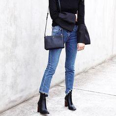 Jeans, boots, Celine trio.