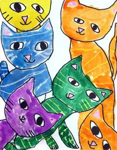 Try giving young students a cat head template and challenge them to fill the page. This young 2nd grader, Benjamin, made an adorable painting as a result.