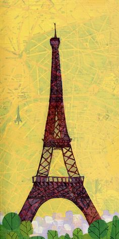 Painting of the Eiffel tower on top of a Paris road map.