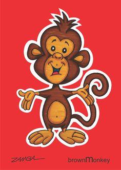 Character design Monkey - macaquinho da cor marrom - ano de 2002 - técnica com caneta hidrocor.
