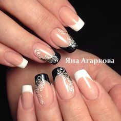 Fails Design Valentines French Tips Ideas Elegant Nail Designs, Fall Nail Art Designs, French Nail Designs, Beautiful Nail Designs, Gem Nails, Bling Nails, Hair And Nails, Fancy Nails, Cute Nails
