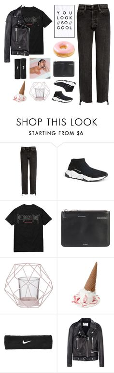 """""""40. sorry helen"""" by zoritheplanet ❤ liked on Polyvore featuring Vetements, Balenciaga, Justin Bieber, Off-White, Bloomingville, Boodles, NIKE and Acne Studios"""