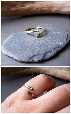 """Sinuous"" stackable skinny ring in brass by Alice Savage. Beautiful bohemian hippie jewelry!"