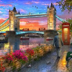 Bridge Drawing, City Drawing, Fantasy Art Landscapes, Landscape Paintings, Sunset Pictures, Nature Pictures, London England Travel, Victorian Paintings, Watercolor Architecture