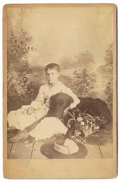ca. 1860s, [carte de visite portrait of a young person with their large dog] via Capitol Gallery, Cabinet Cards