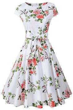 3a13b425b87ecc Chicanary Women s 1950s Vintage Cocktail Party Swing Dress Cap-Sleeve at  Amazon Women s Clothing store
