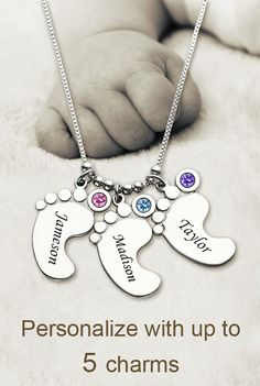 Personalized Mothers Necklace Baby Feet Charm Hold my hand ,my sweety.You lovely feet step touch my heart forever . Personlize your angel lovely feet with up 5 charms . Save 40% Off with nice free gift box.Check more from getnamenecklace