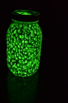I made the glow jar! It's pretty cool! :) Paint dots inside mason jar with glow in the dark paint.
