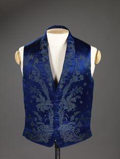 Vest C.1840 - 1860. Binding Patterned silk satin,...   THE VINTAGE THIMBLE