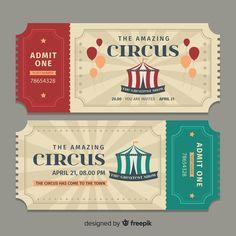 Flat circus ticket template Free Vector Ticket Template Free, Receipt Template, Circus Theme, Circus Party, Cirque Vintage, Billet Concert, Circus Tickets, Admit One Ticket, Ticket Design