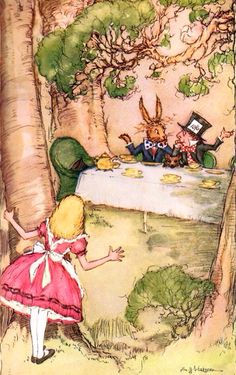 Alice in Wonderland character illustrations via www.Facebook.com/HattersParty