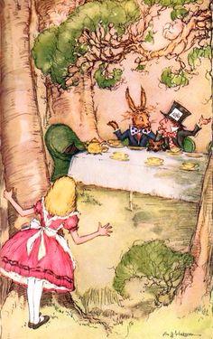 Alice in Wonderland character illustrations via www.Facebook.com/HattersParty