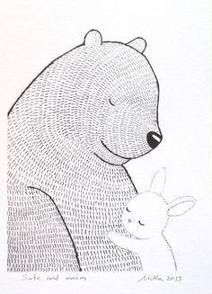 Bunny Bear afdrukken liefde afbeelding afdrukken inkt door mikaart