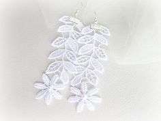 White lace flower and leaves earrings long by MalinaCapricciosa, $16.00
