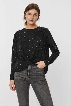 WOMEN Vero Moda Long Sleeve Twist Polka Dot Top Chemise Dress, Clothing Haul, Khaki Dress, Black Tank Tops, Printed Blouse, Skirt Fashion, Polka Dot Top, Normcore, Long Sleeve