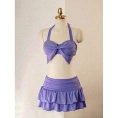 Solid Color Halter Neck Bow Tie Design Slimming Three Piece Women's Swimsuit