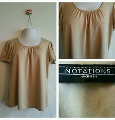 Gorgeous Womens Notations beige nude Short Sleeve Top blouse shirt plus size 1X
