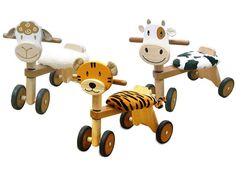 Prowl the playroom and graze the kitchen with these cute animal ride-ons from Im Toy. With beautiful wooden construction, plush animal-print seats, and rubber wheels that won't wreck your floor, this is one very civilised wild ride!  Available from Tree Frog Toys – $79.95