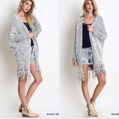 ️oversized Slouchy Cardigan Fringe Cardigan Nwt fabulous dolman sleeve charcoal combo fringe cardigan which is great for layering . Super soft nwt please comment for personal listing Vivacouture Sweaters