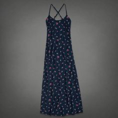 Abercrombie & Fitch Blue Floral Maxi Dress Pretty and super famine navy blue maxi ✨ crisscross back with adjustable straps . NO TRADES No PayPal Abercrombie & Fitch Dresses Maxi