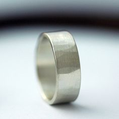 Hammered Recycled Sterling Silver Wedding Band for Men or Women - 6mm wide - comfort fit - made to order. $88.00, via Etsy.