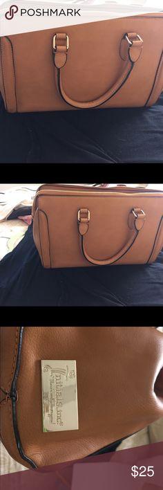 Tan handbag 2 handles initials inc Bags Satchels