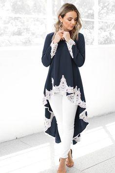 ece3cd9cf Hualong Summer Cute Dark Blue Long Sleeve Lace Slip Dress. Online Store for Women  Sexy Dresses