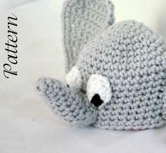 Baby elephant hat PDF Crochet Pattern newborn-2 months beanie infant animal head covering costume accessory photography prop. $3.00, via Etsy.
