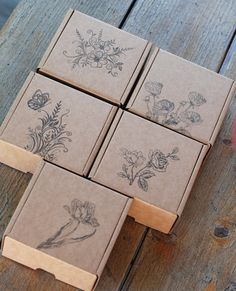 Paper gift boxes assorted Flower themed carton by ILikeStamps Gift Box Packaging, Soap Packaging, Jewelry Packaging, Brand Packaging, Packaging Design, Displays, Paper Gift Box, Easy Gifts, Diy Paper