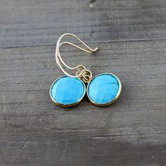 Turquoise Earrings on 14k Gold Fill by true2u on Etsy