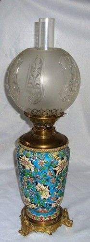 Antique Longwy Paraffin Lamp French Pottery Majolica | eBay