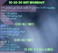 10-20-30 HIIT workout from @TrainerPaige blog! #fitfluential #imagreatist