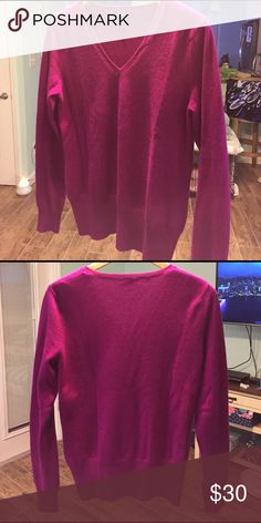 Crew Neck 100% Cashmere Pink (dark) Pullover Like New prive Sweaters Cardigans