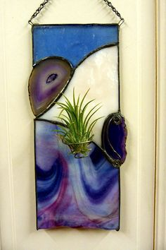 Stained Glass Panel with Airplant Purple and Pink Geode Slices Stained Glass Suncatchers, Stained Glass Designs, Stained Glass Projects, Stained Glass Patterns, Stained Glass Flowers, Stained Glass Art, Mosaic Glass, Wall Plant Hanger, Glass Art Pictures