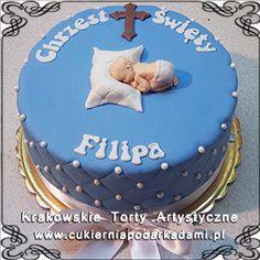 036. Niebieski tort z perełkami i małym bobasem na chrzest dla chłopca. Blue cake with small pearls for boy's baptism.