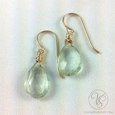 Simple drop earrings, green amethyst Pearl Earrings, Drop Earrings, Amethyst, Pearls, Simple, Green, Jewelry, Pearl Studs, Jewlery