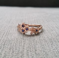 Blue Sapphire Gold Flower Engagement Ring Delicate Floral Wedding Bridal Band Dogwood Blossom Rose 14K Gold Cluster Anniversary Branch by PenelliBelle on Etsy