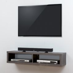 Martin Furniture Shallow Wall Mounted TV Shelf