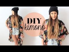 DIY kimono-so cut and I've been really been wanting a kimono but they are all so expensive. This one is made from a recycled scarf!!