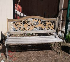 This bench had been neglected and very weathered. I was able to give it a new life with a little stain and Metal Effects paint. This bench has lived outside… Metal Outdoor Bench, Metal And Wood Bench, Outdoor Garden Bench, Patio Bench, Garden Benches, Outside Benches, Old Benches, Outdoor Furniture Plans, Porch Furniture