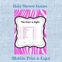 Zebra Pink Themed Girl Baby Shower  The Price is Right Baby Shower Game by 2RabbitsPrintEnjoy #thepriceisrightbabyshowergame #zebrathemedbabyshower