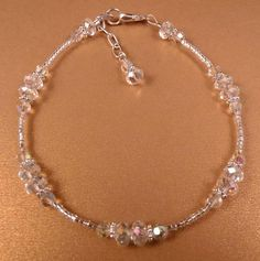 Crystal Ankle Bracelet Crystal Anklet Beaded Anklet Beaded Jewelry Crystal Jewelry Silver Jewelry - New Sites Diy Bracelets With Names, Cute Bracelets, Ankle Bracelets, Crystal Bracelets, Crystal Jewelry, Crystal Beads, Cute Jewelry, Diy Jewelry, Beaded Jewelry