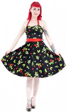 Hearts & Roses London Black Red Cherry Dress - Suicide Glam Australia