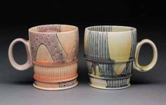 Douglas Peltzman of Philadelphia, Pennsylvania was a 2010 Ceramics Monthly Emerging Artist. Peltzman created these mugs in 2010.